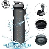 CAMTOA Sports Water Bottle, 36oz Large Premium Water Bottle/Resin Fitness Bottle/With Leak Proof Flip Top Lid/One Click Open-Eco Friendly & BPA Free Tritan Plastic Perfect for Outdoor & Indoor etc.