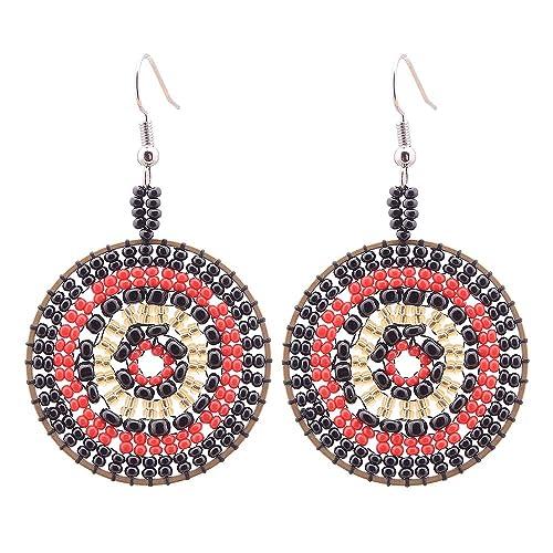 93bd6dd3c5ce Rojo negro perlas cuelgan aretes para mujer cheerslife joyeria de moda  hecha a mano redondo multicolor semillas regalos para ella  Amazon.es   Joyería