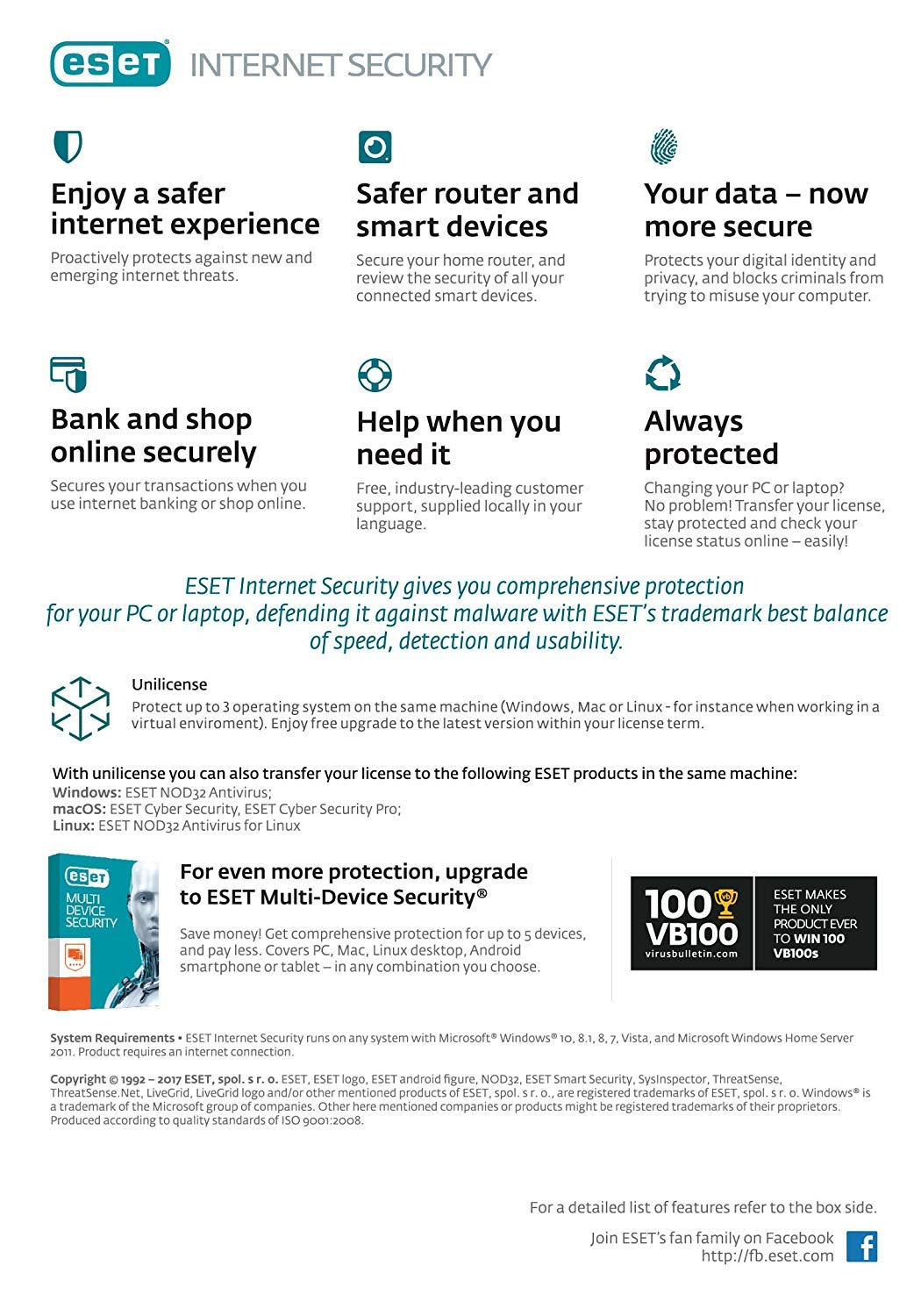 Eset Internet Security V10 1Yr 3-User BIL