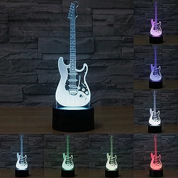 Lámpara De Escritorio 3D LED, 7 Botones Táctiles De Cambio De Color De Carga USB Lámpara De Cabecera De La Guitarra Eléctrica ...