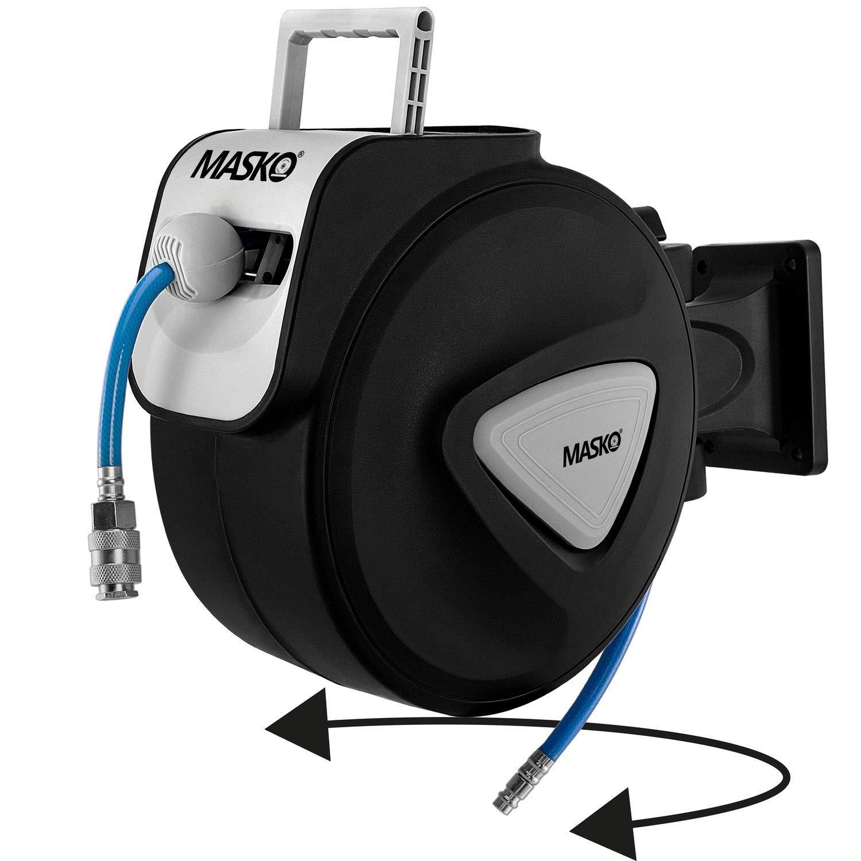 Schlauchtrommel Wandschlauchhalter Schlauchaufroller Druckluftschlauch-Aufroller Druckluftschlauch-trommel Black MASKO/® 15m Druckluftschlauch Aufroller automatisch 3//8 Anschluss