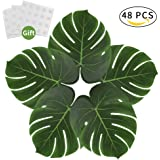 AmyHomie 48pcs Large 13.8inch Artificial Tropical Palm Leaves, Simulation Leaf for Hawaiian Luau Party Supplies Jungle Beach Theme Table Decorations (green)
