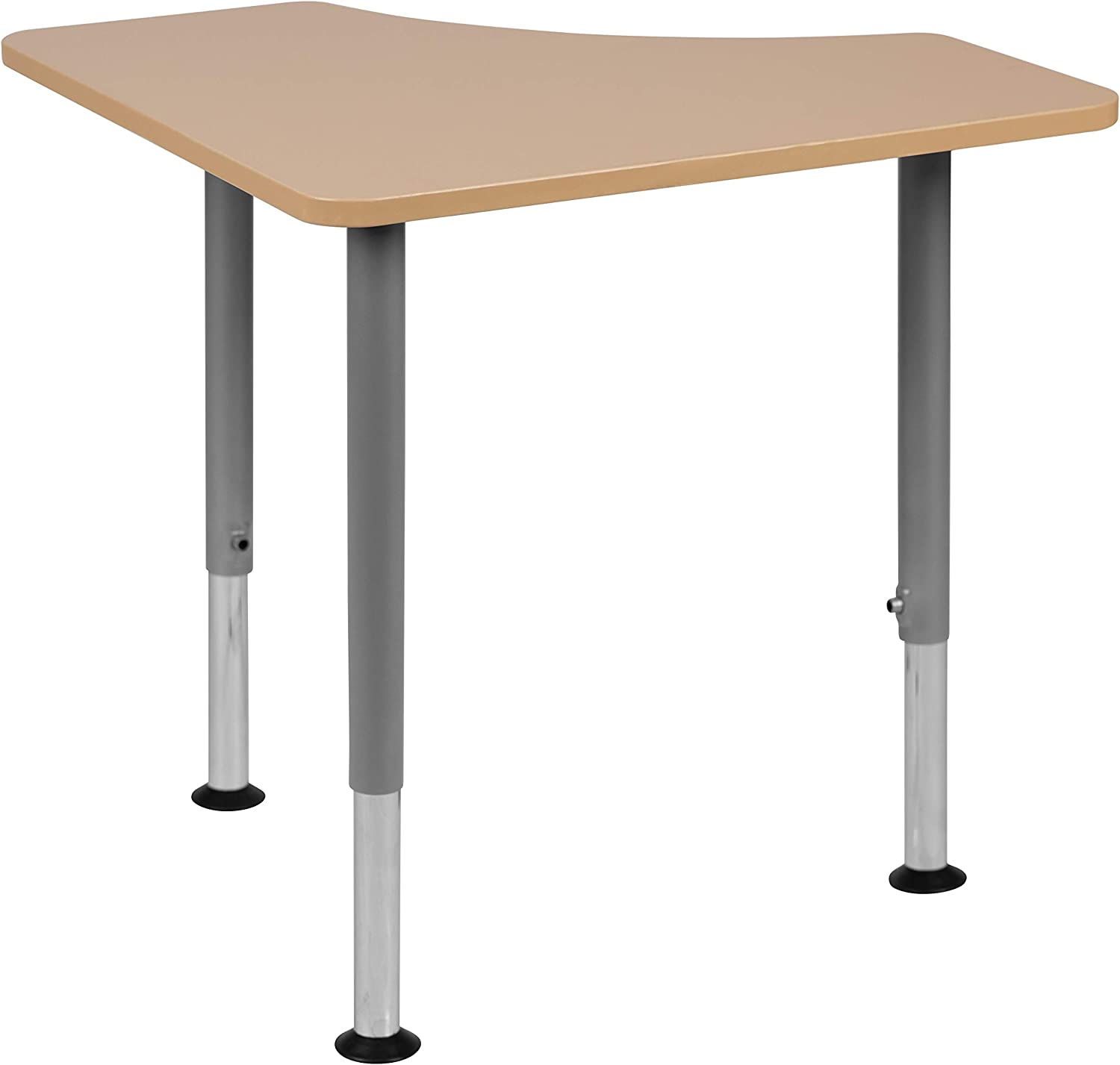 """Flash Furniture XU-SF-1003-NAT-A-GG Triangular Natural Collaborative Student Desk (Adjustable from 22.3"""" to 34"""") - Home and Classroom"""