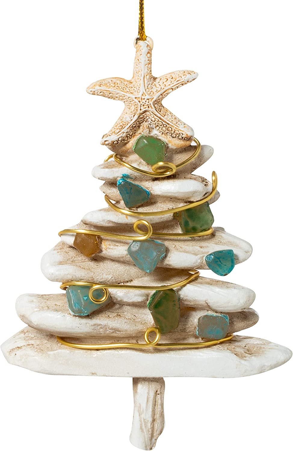 Cape Shore Driftwood and Sea Glass Christmas Tree Holiday Ornament