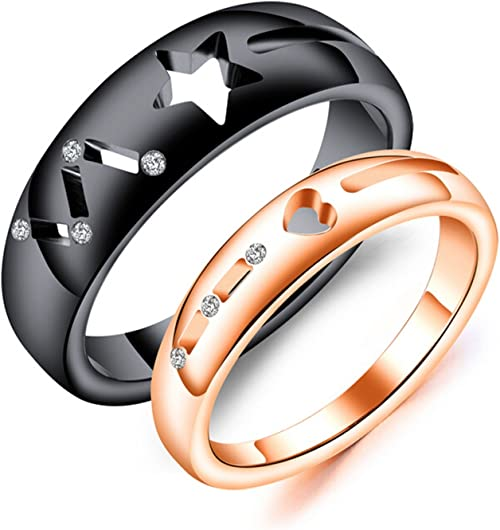 Bishilin Rose Gold Plated Cubic Zirconia Heart Wedding Band Engagement Ring for Women Size 6