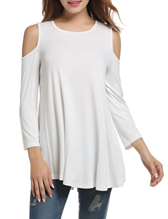652105f5 Zeagoo Womens T Shirt Cold Shoulder 3/4 Sleeve Solid Casual Loose Tunic  Blouse Tops