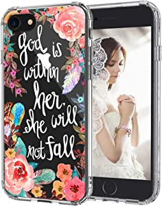 MOSNOVO Floral Flower with Christian Quote Designed for iPhone SE 2020 Case/Designed for iPhone 8 Case/Designed for iPhone 7 Case - Clear