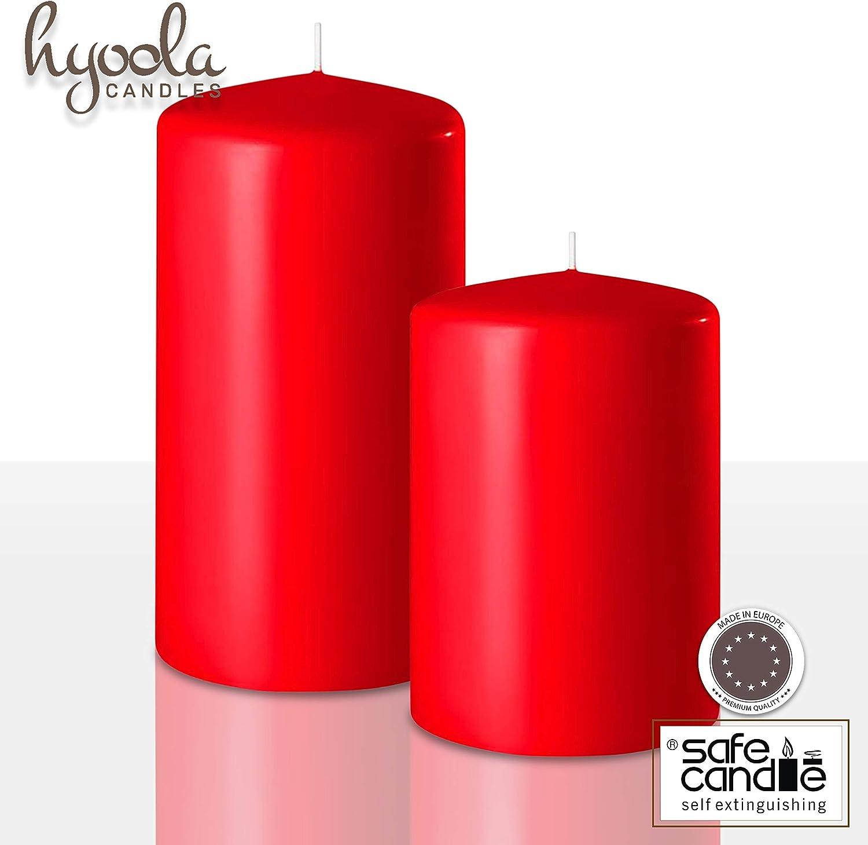Hyoola Lot de 4 Bougies Pilier Rouge 5,1 x 10,2 cm