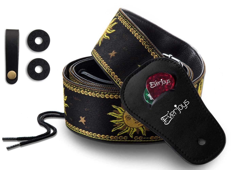 Guitar strap Adjustable Leather Strap w//Genuine Leather Headstock Strap Button Adaptor Safety Locks Picks