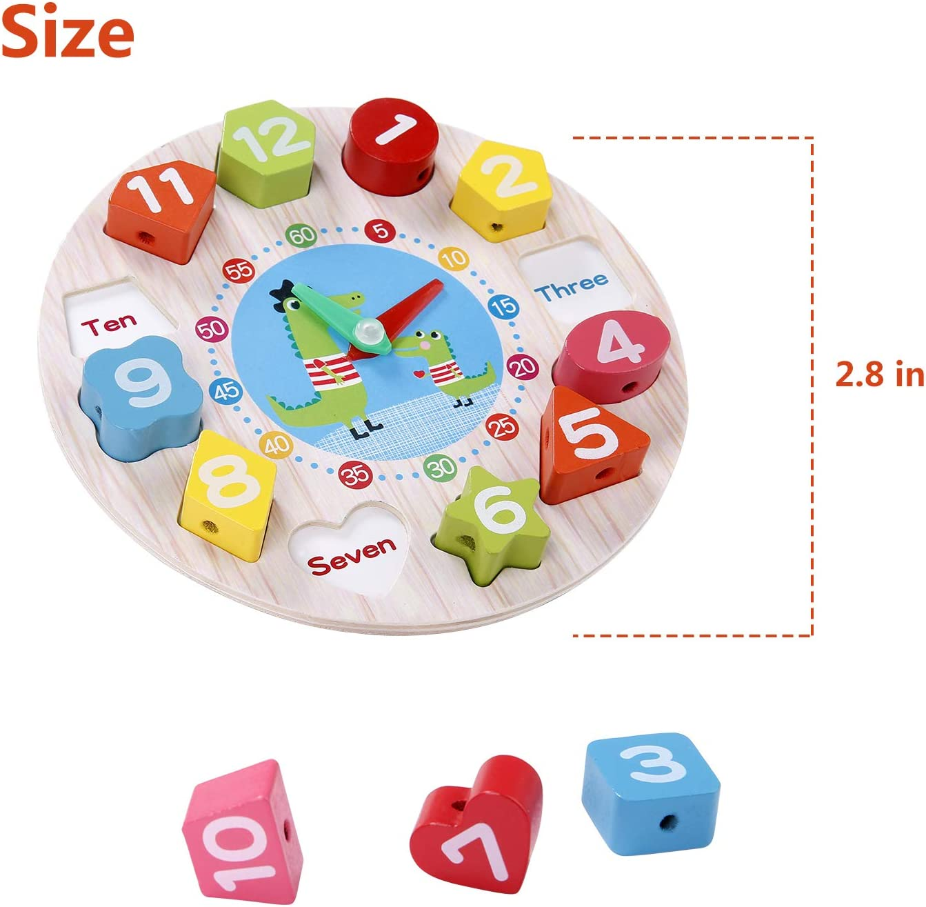 Teaching Time Number Color Blocks Shape Puzzles Stacking Sorter Jigsaw Montessori Early Learning Educational Toys Gift for 1 2 3 Year Baby Toddler Kids TOHIBEE Wooden Shape Sorting Clock