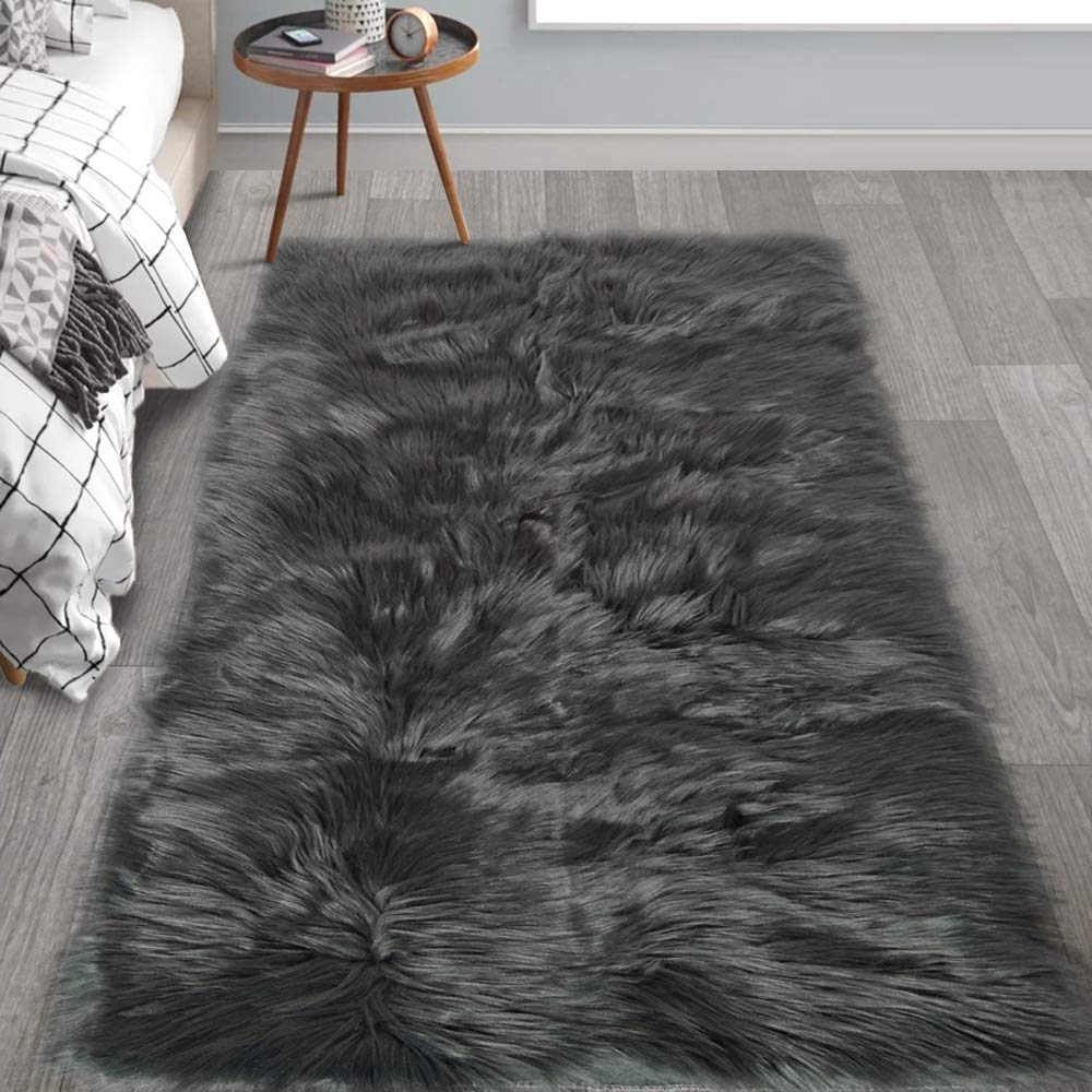 HAOCOO Faux Fur Sheepskin Rug Fuzzy Fluffy Rectangle Dark Gray Area Rugs 4' x 5' Kids Carpet for Bedroom Living Room Floor Or Across Your Armchair Sofa Couch