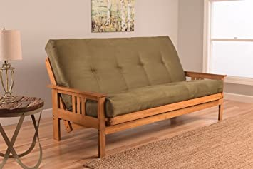 monterey full size futon sofa bed butternut wood frame suede innerspring mattress olive - Wood Frame Couch