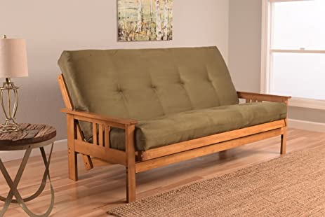 Monterey Full Size Futon Sofa Bed, Butternut Wood Frame, Suede Innerspring  Mattress, Olive