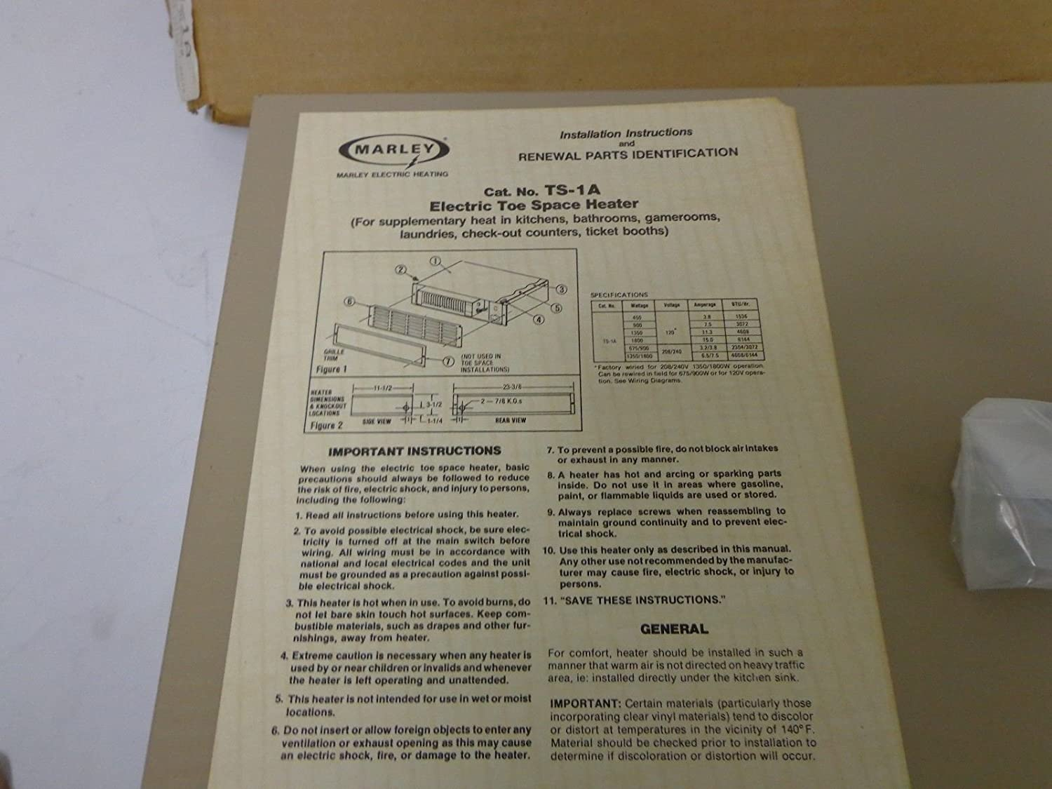 Amazoncom Marley Electric Toe Space Heater Qmark Kick Wiring Diagram 1500w New Old Stock Home Kitchen