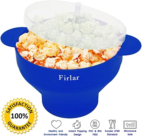 PoPuP - Popper de microondas con asas cómodas, molde de silicona para palomitas de maíz, cuenco plegable con tapa (azul): Amazon.es: Hogar