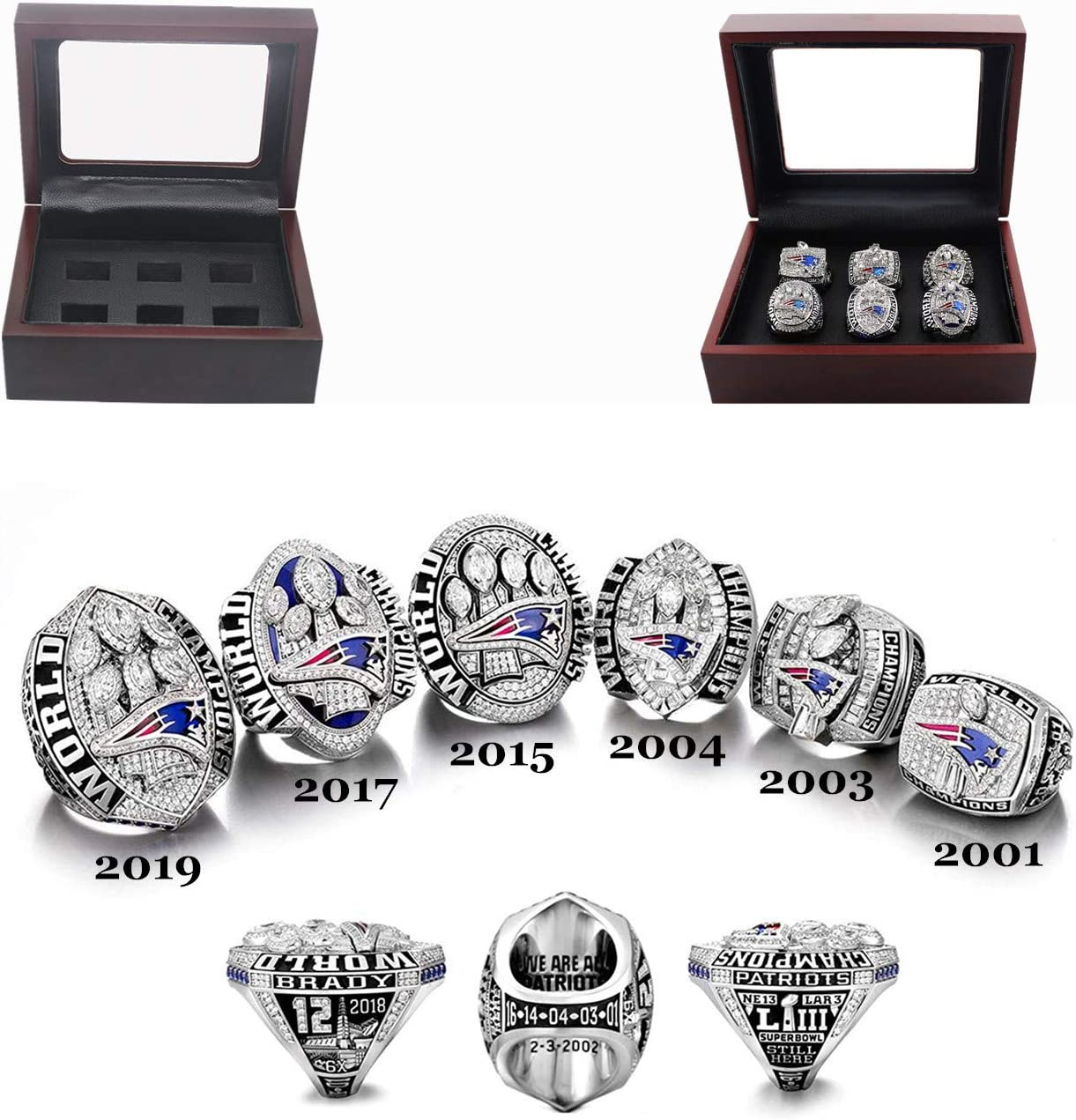 shanyang NFL 2019 Championship Ring Super Bowl The New England Patriots 6 Years Rings Set, 2001-2019 Size 8-14