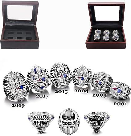 Championship Ring Super Bowl Tom Brady The New England Six Rings Prime Mvp Brady Patriots 6 Years Rings Set 2001 2019 Size 8 8 Rings Amazon Canada