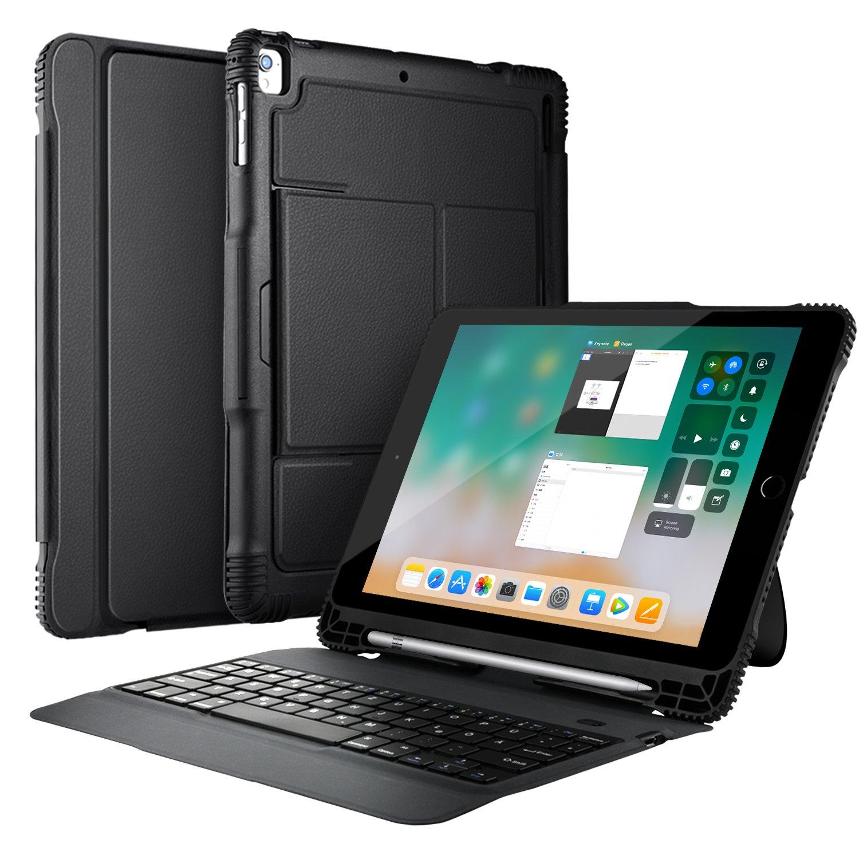 ipad 9.7 2018 Keyboard, KuGi iPad 9.7 2018 Case Keyboard, Ultra-Slim Portable Detachable Bluetooth Keyboard Stand Case iPad 9.7 2018/2017 / iPad Pro 9.7 /iPad Air 2/ iPad Air Tablet (Black) Vostrostone