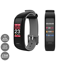 LCARE Band 2S Fitness Band with Blood Pressure + Heart Rate Monitor + Smart Activity Tracker + Call Alert for Android and iPhone (Black)