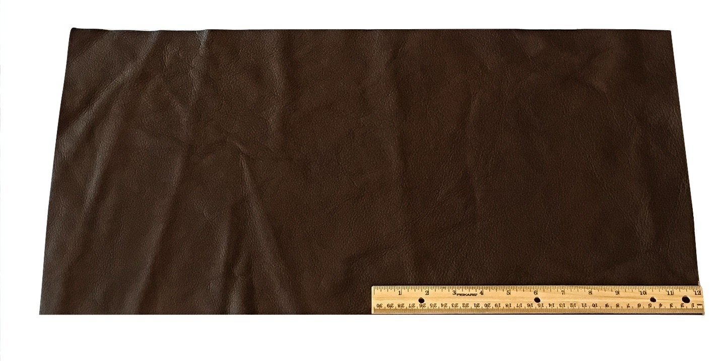 Upholstery Leather Piece Cowhide Dark Brown Light Weight 2 SF 12 x 24 inches Dangerous Threads 4336862208