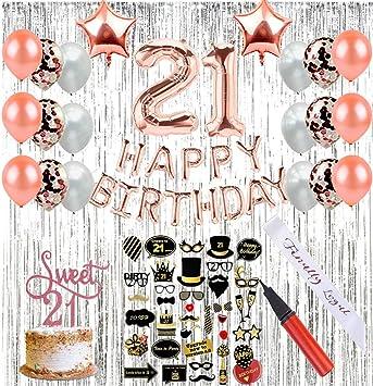 Amazon.com: FutureSquared decoraciones de 21 cumpleaños (64 ...