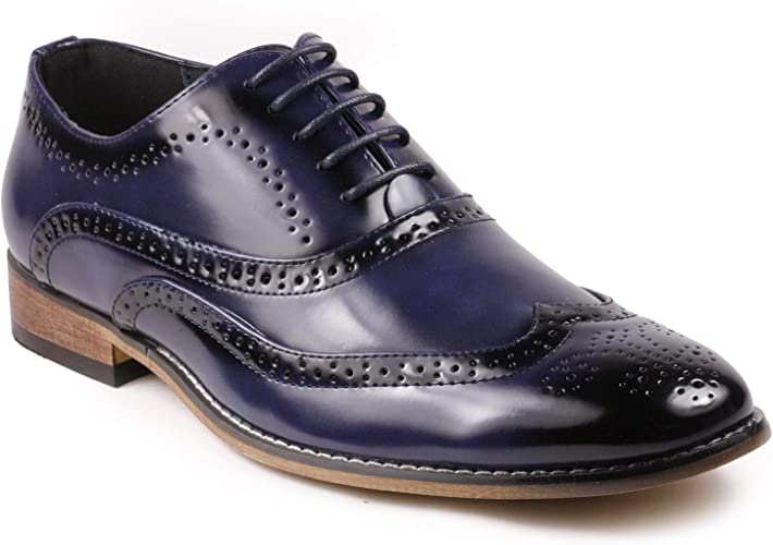 White Men/'s Two Tone Wing Tip Lace Up Oxford Dress Shoe Navy Blue
