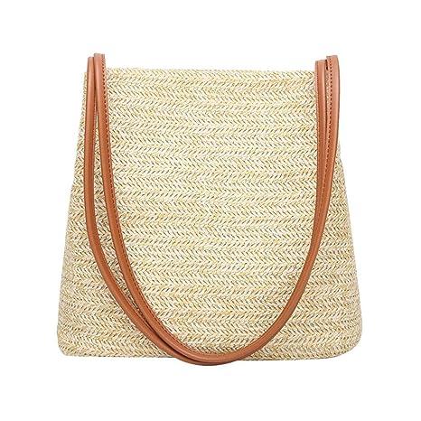 Bolsas para Mujeres, Mujer Paja Cubo del Bolso de Hombro Ocasional Ladies Beach Bolsas