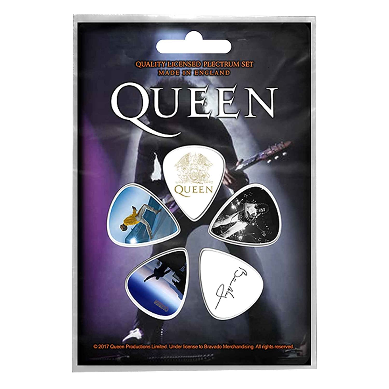 Queen Plectrum Pack Guitar Pick X 5 Band Logo Brian May Freddie Official