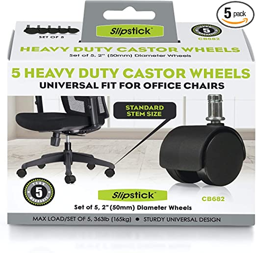 Set o Slipstick CB680 2 Inch Floor Protecting Rubber Office Chair Caster Wheels