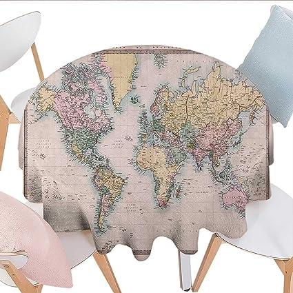 Amazon.com: longbuyer World Map Round Vinyl Tablecloth Original