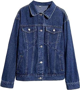 Zeious Women Denim Dresses Plus Size Casual Winter Clothes Button Jackets Slim Fit Long Jean Coats Outerwear,3X-Large,Blue