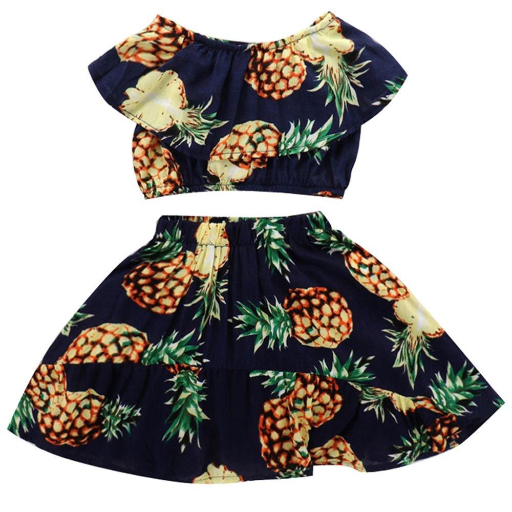 Genenic 2Pcs Baby Little Girls Pineapple Print Crop Top Skirt Summer Dress Set