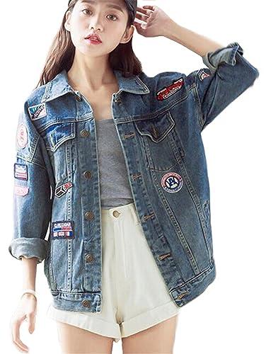 Minetom Mujer Otoño Bordado Distintivo Mezclilla Chaqueta De Los Pantalones Vaqueros Suelto Abrigo