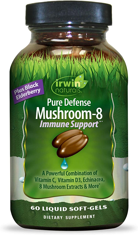 Irwin Naturals Pure Defense Mushroom-8 Powerful & Robust Immune Support Supplement with 8 Organic Mushroom Blend, Vitamin C & D3, Echinacea & Black Elderberry - Maximum Potency - 60 Liquid Softgels