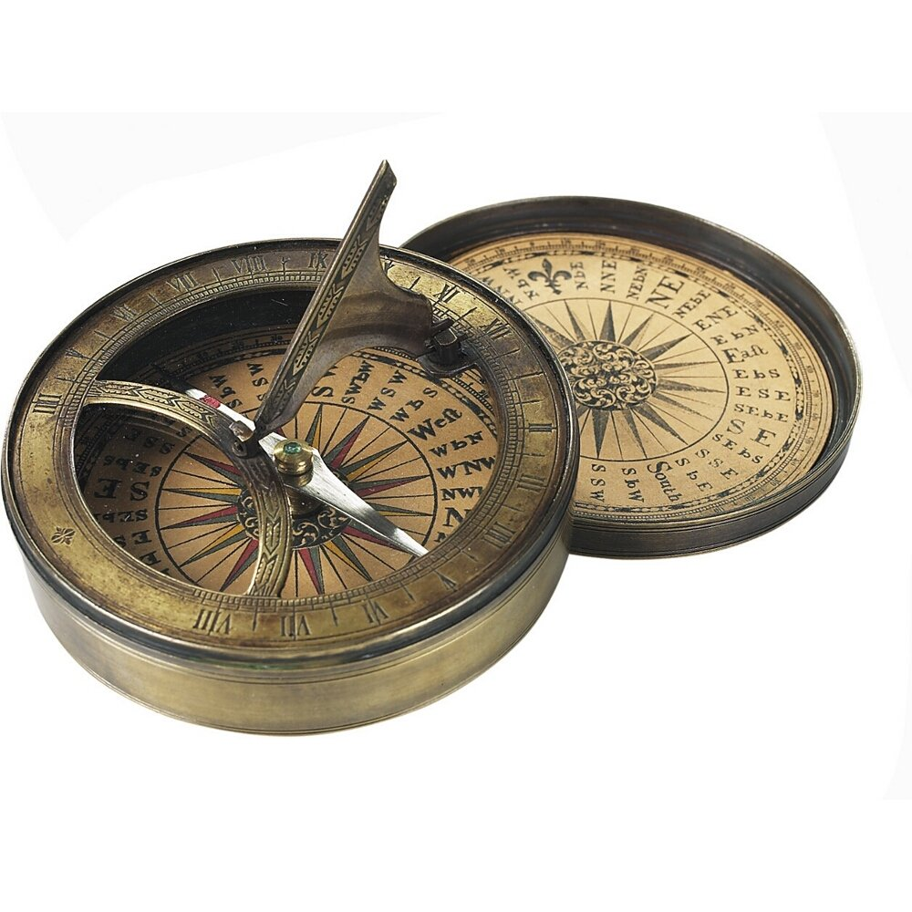 Authentic Models 18th C. Sundial&Compass Rev