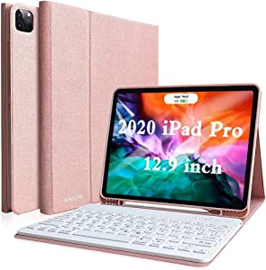 Keyboard Case for iPad Pro 12.9 4th Generation, iPad Pro 12.9 3rd Generation Case with Keyboard, iPad Pro 12.9 2020/2018 Keyboard Case, Magnetically Wireless Detachable Keyboard, Champagne