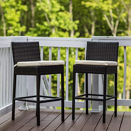 Sundale Outdoor 2 Pcs Brown Wicker Counter Height Bar Stool With Cushions  All Weather Patio Furniture
