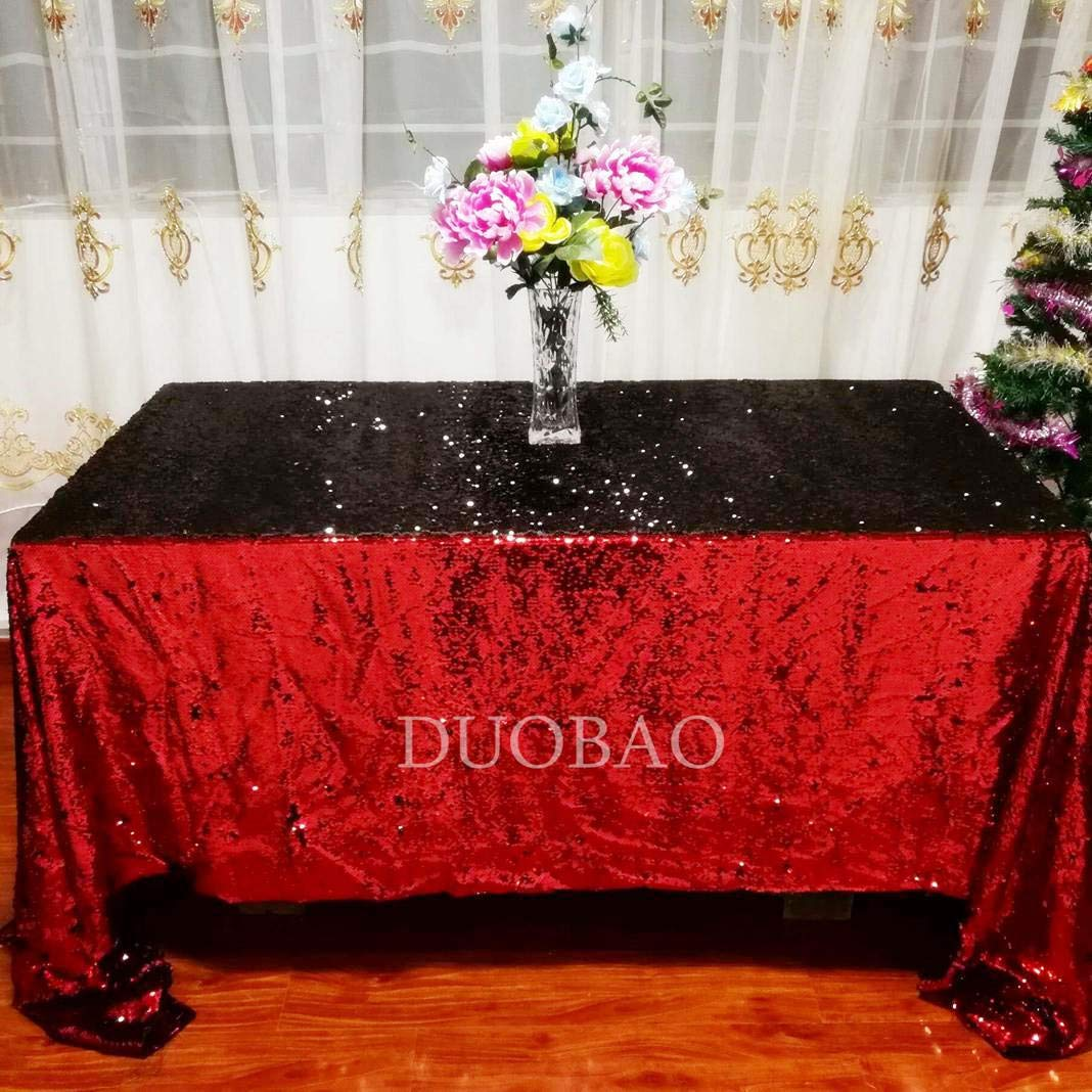 DUOBAO Sequin Tablecloth 60x84-Inch Black Mermaid Sequin Fabric Red to Black Glitter Tablecloth Reversible tablecloths for Rectangle Tables~0516