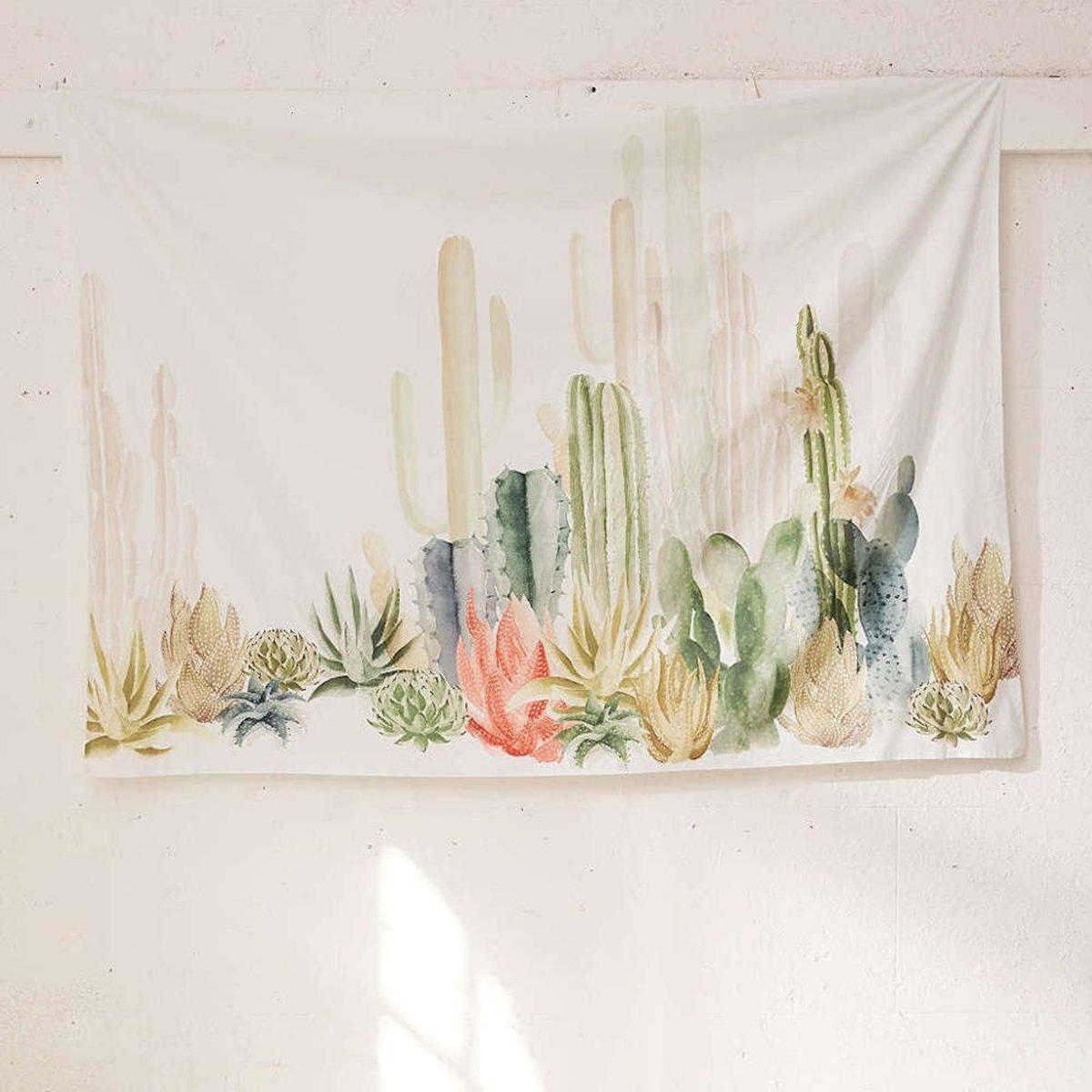 Jeteven Tropical Desert Plant Tapestry Cactus Wall Hanging Beach Towel Home Living Room Creative Art Decor 79''X59''