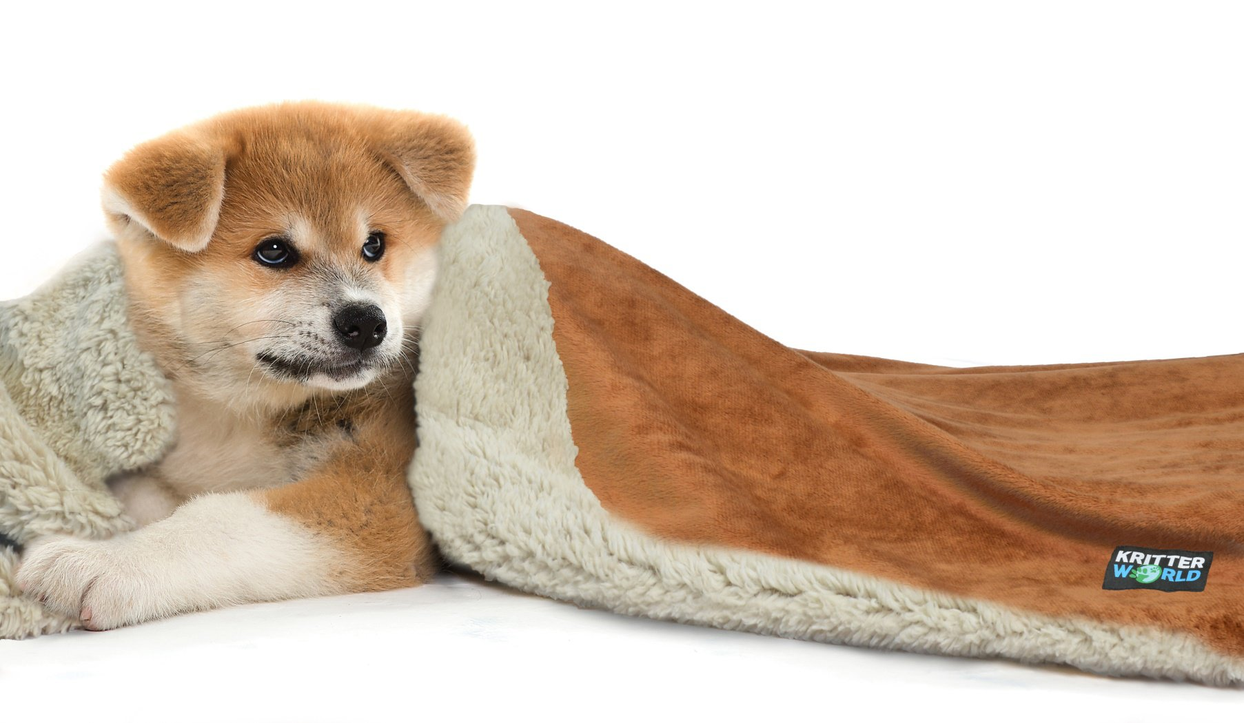 KritterWorld Pet Dog Cat Puppy Kitten Microplush Sherpa Snuggle Blanket for Couch, Car, Trunk, Cage, Kennel, Dog House, 45'' x30'' Dark Brown/Tan