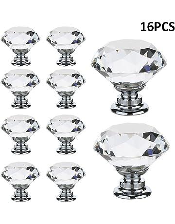 littlegrasseu Pomo de Cristal Transparente con Tornillos Tiradores de Cristal Vidrio para Cajones Vitrinas Puertas Muebles