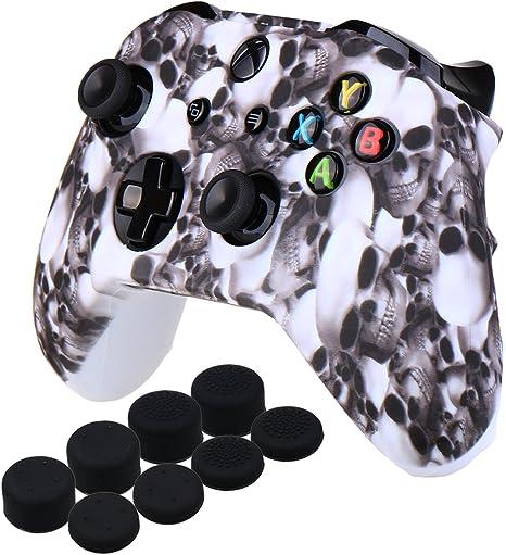 YoRHa Cráneo Impresión de transferencia de agua silicona caso piel Fundas protectores cubierta para Xbox One