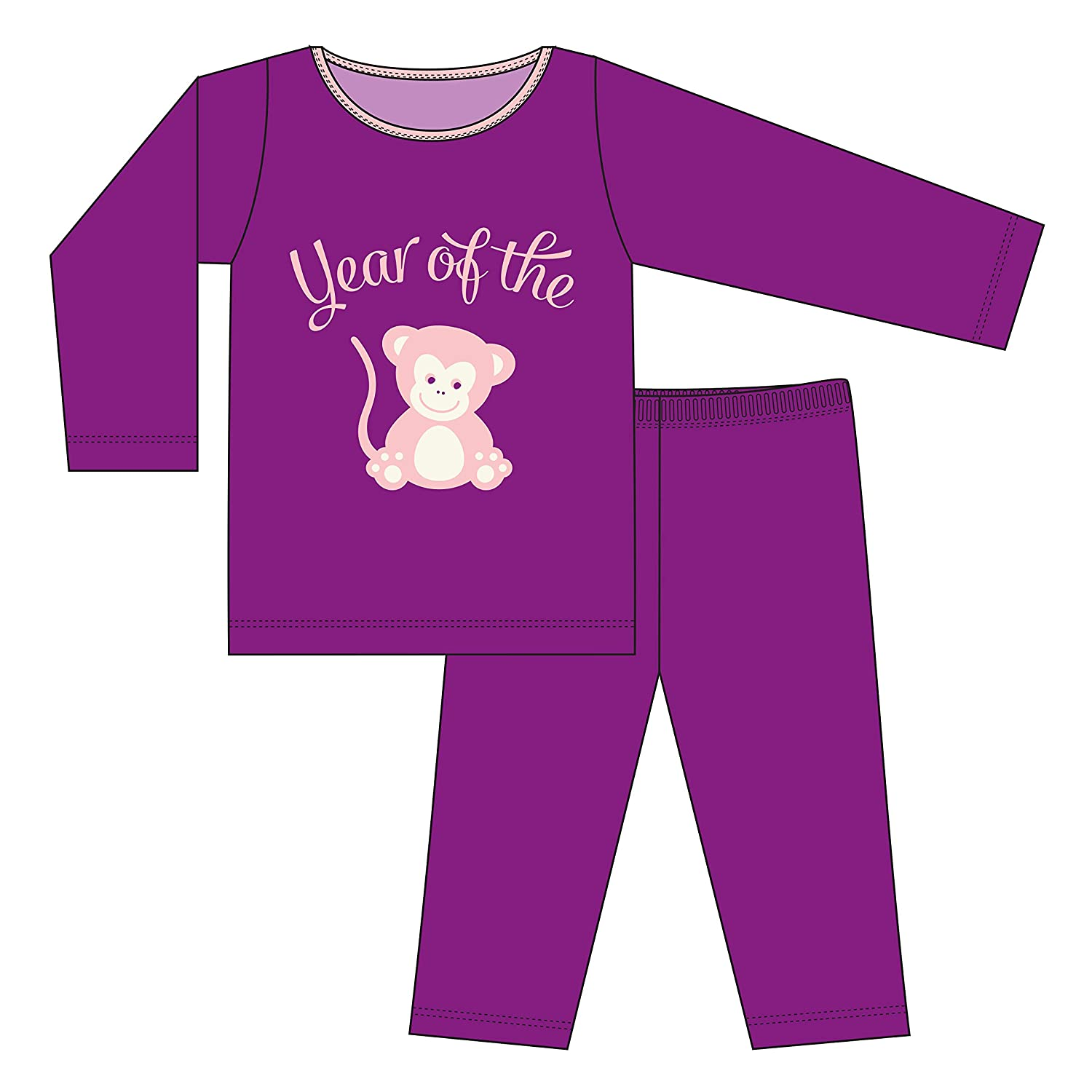 KicKee Pants Holiday Long Sleeve Applique Pajama Set Little Girls 18-24 Months Orchid Year of the Monkey