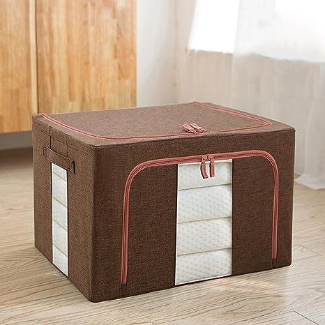 Pinjeer 66L paño de algodón cubierto de lino grande caja de almacenamiento se puede doblar ropa