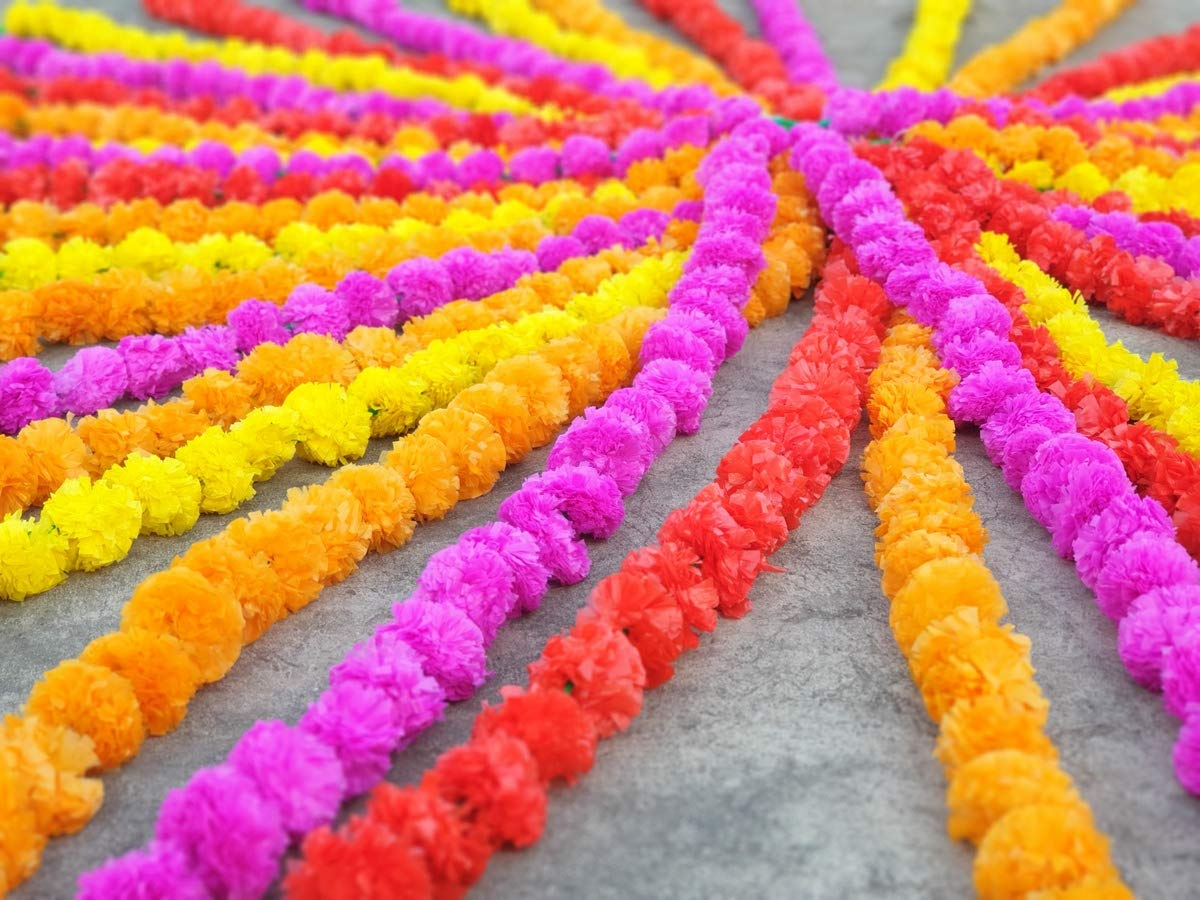 Pack Of 100 Indian Multicolors Artificial Marigold Decoration Fluffy Flower Wedding Home of DoorsTemplesWindowsWalls 5 Feet Garlands