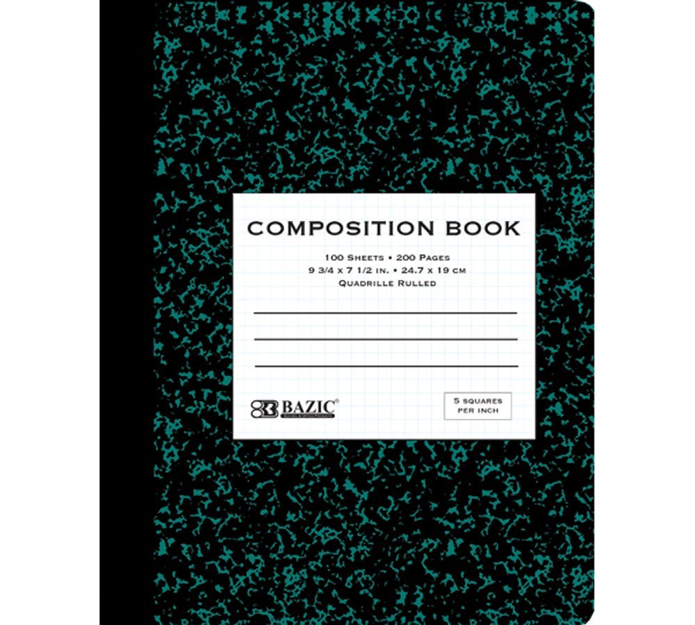 BAZIC 100 Ct. 5-1'' Quad-Ruled Marble Composition Book (Case of 48)