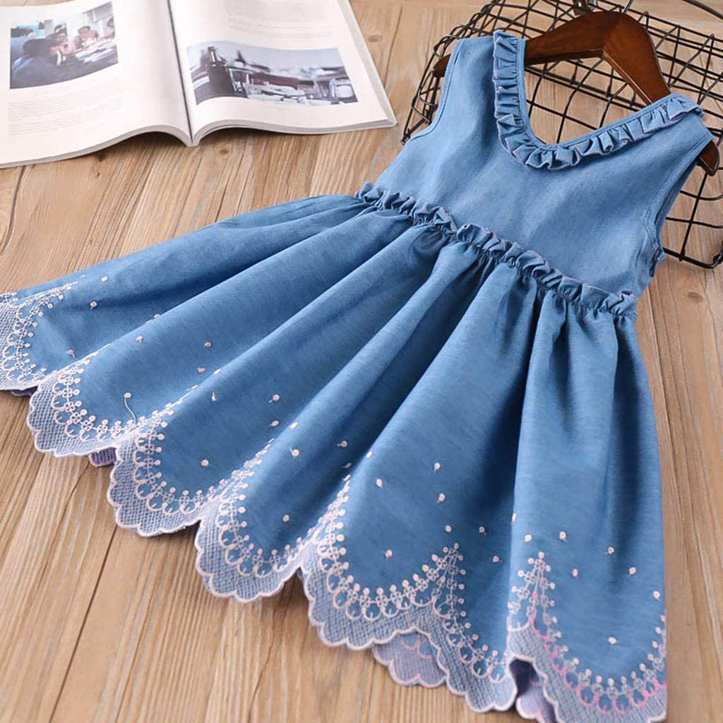 Feitengtd Toddler Kids Baby Girls Clothes Embroidery Denim Party Pageant Princess Dress