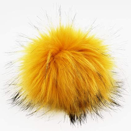 DIY Large Faux Raccoon Fur Pom Pom Ball with Press Button for Knitting Hat ssk