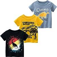 Nuziku Boys' 3-Pack Dinosaur Short Sleeve Crewneck T-Shirts Top Tee Size 2-6 Years
