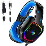 KAMYSEN Auriculares para Juegos, Gamer Headset con micrófono,Audífonos con Aislamiento de Ruido con Cable de, Control del Vol